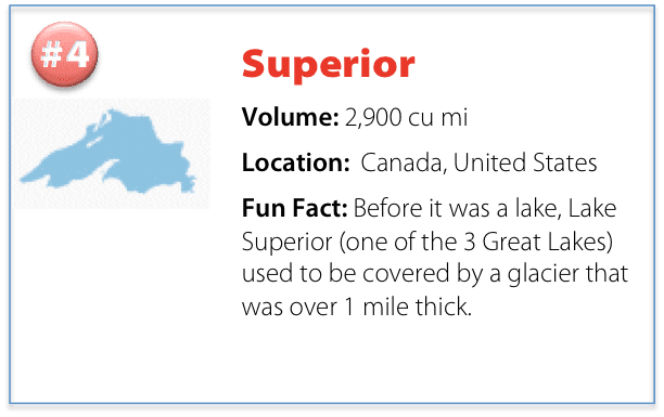 facts about Lake Superior including volume, location, and a fun fact