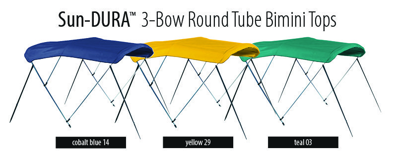 three Bimini tops shown in cobalt blue, yellow, and teal