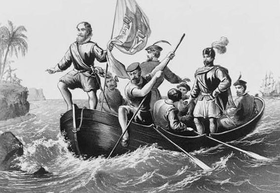 black and white image of Christopher Columbus and several other men in a small boat