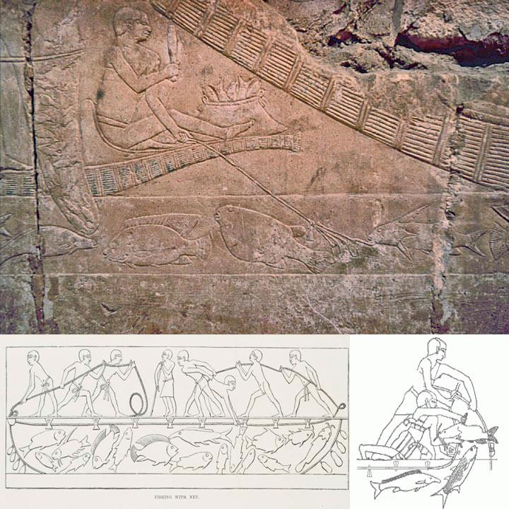 ancient egyptian carving showing people fishing