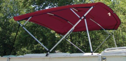red pontoon bimini top with light cut out