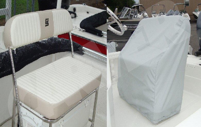light gray Carver universal reversible seat cover for boat