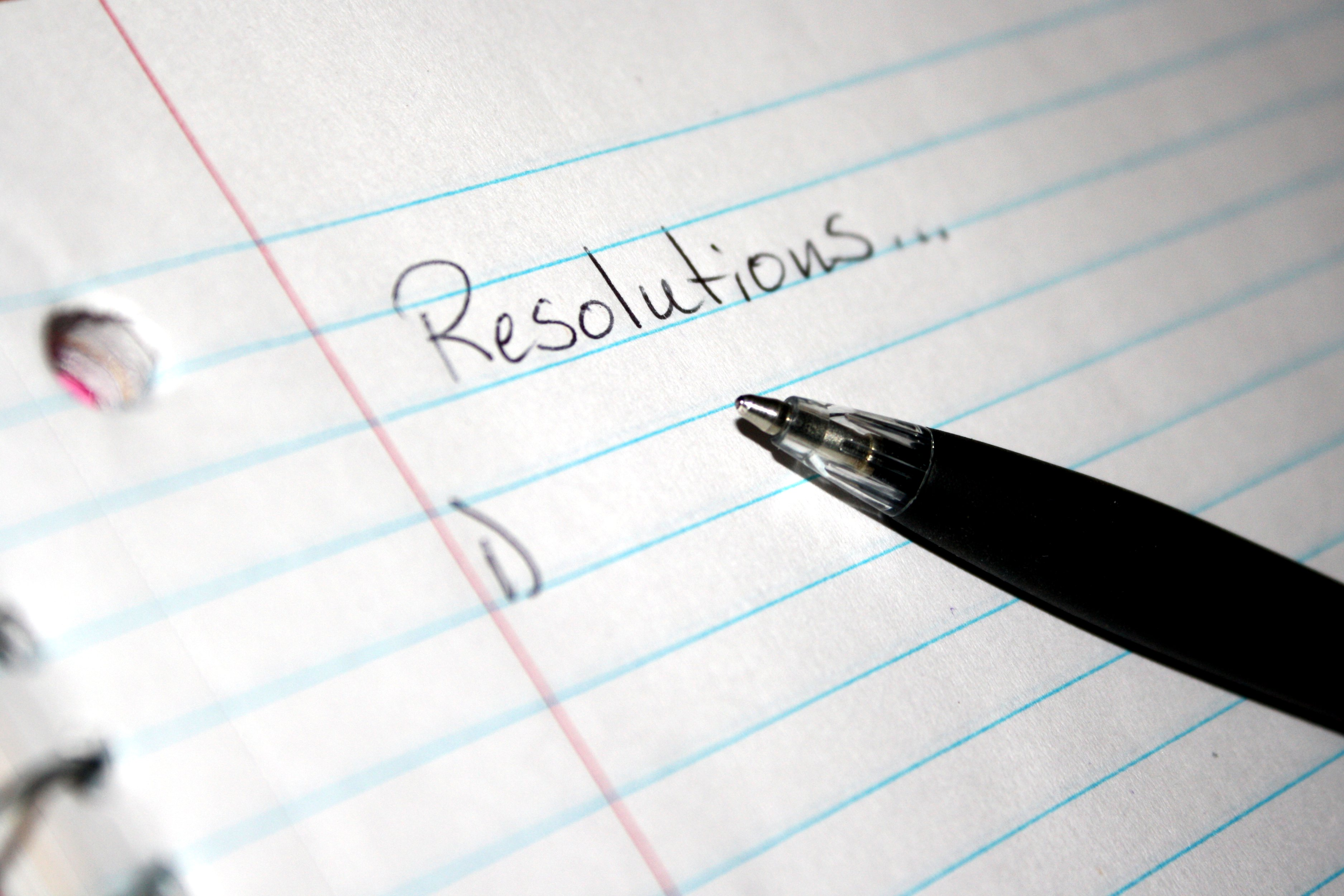notebook paper with a blank list of resolutions