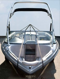 v-hull runabout boat with Carver support system installed