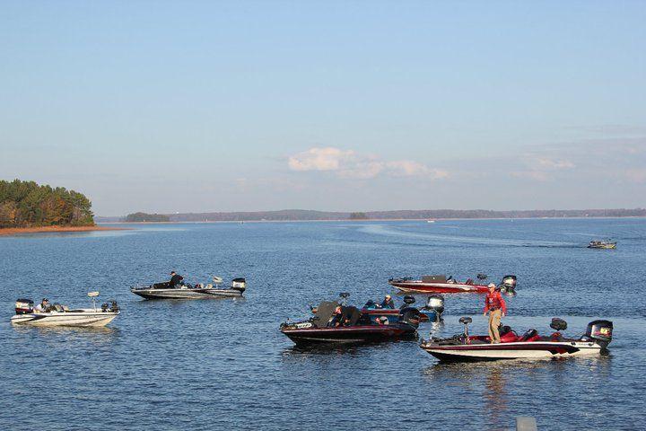 bass boats fishing on lake